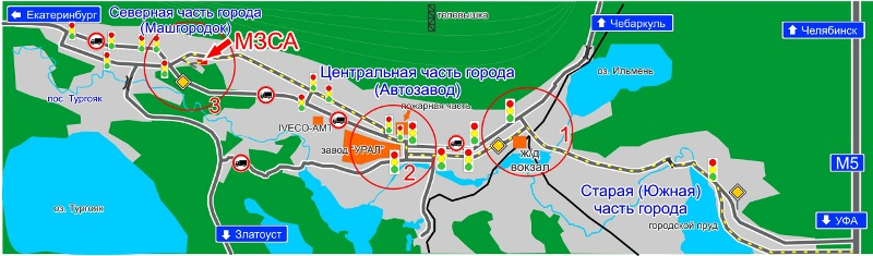 Желтой пунктирной линией обозначен рекомендуемый маршрут движения от автодороги М5 Москва-Челябинск.